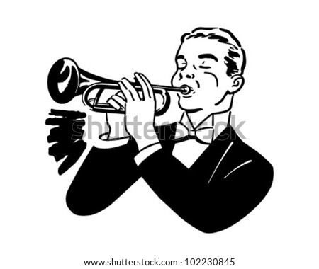 Trumpet Player - Retro Clipart Illustration