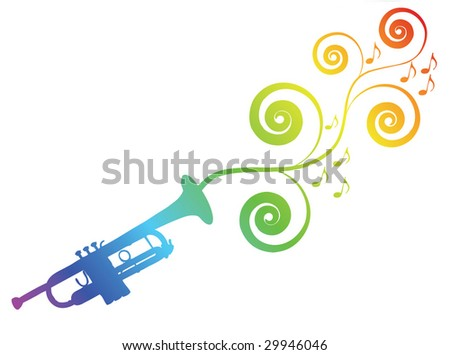 Trumpet silhouette with floral elements. Music theme.