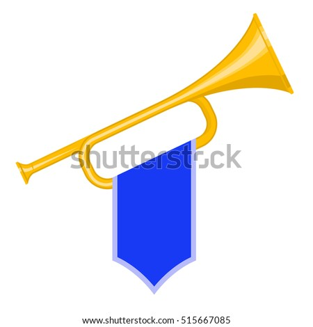 Trumpet with blue flag icon. Brass Bugle Cartoon Illustration. Horn Flat design. vector