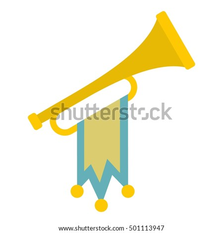 trumpet with flag icon flat