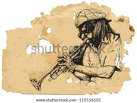 Trumpeter. A vector image is composed of two editable layers - background with torn paper and sketch of musician.