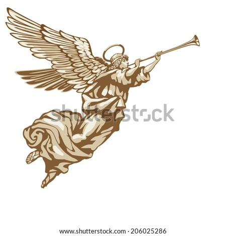 trumpeting angel in three