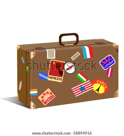 trunk with stickers and labels