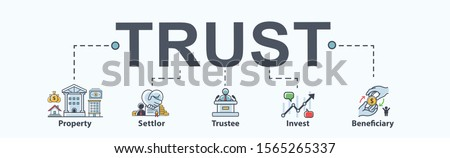 Trust banner web icon for Mutual Fund and investment, Settlor, Trustee, Beneficiary, Property and manager. Minimal vector infographic.