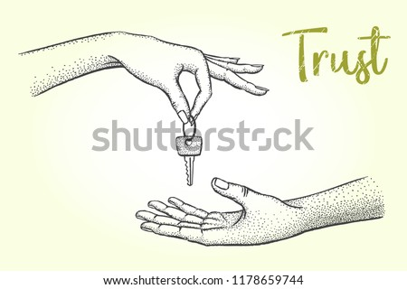 Trust, business concept sketch. A woman's hand gives the key to her house to a man. Vector hand drawn illustration.