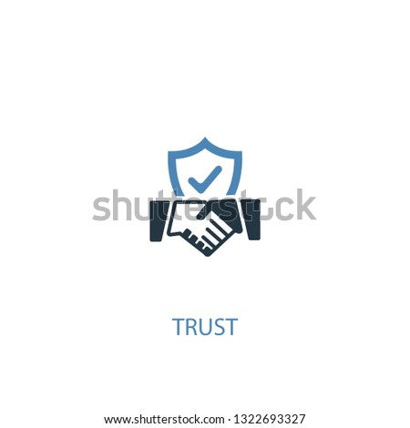 trust concept 2 colored icon. Simple blue element illustration. trust concept symbol design. Can be used for web and mobile UI/UX Foto d'archivio ©