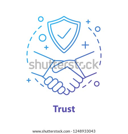 Trust concept icon. Defence, protection idea thin line illustration. Life insurance. Vector isolated outline drawing