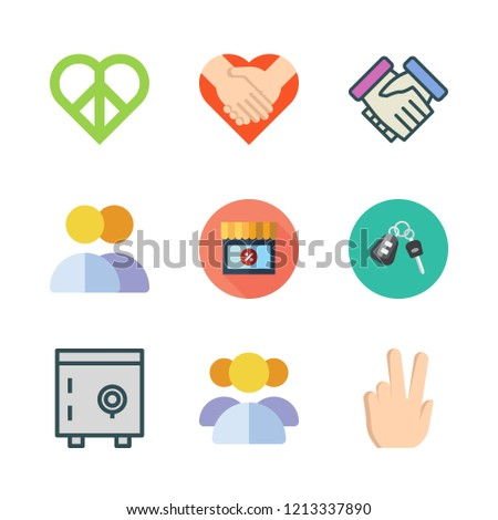 trust icon set. vector set about car key, group, safebox and peace icons set.