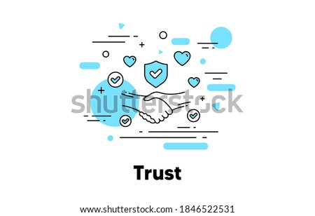 Trust line icon. Partnership deal, Friendship and Certainty illustration. Respect handshake, integrity and Insurance line icon. Compliance, business trust, customer deal. Editable stroke. Vector Сток-фото ©