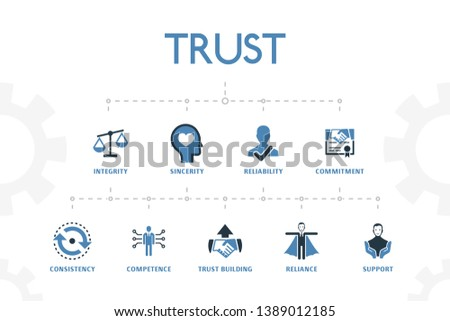 376e9372 trust modern concept template with simple 2 colored icons. Contains such  icons as integrity,