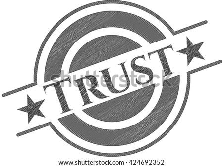 Trust pencil strokes emblem