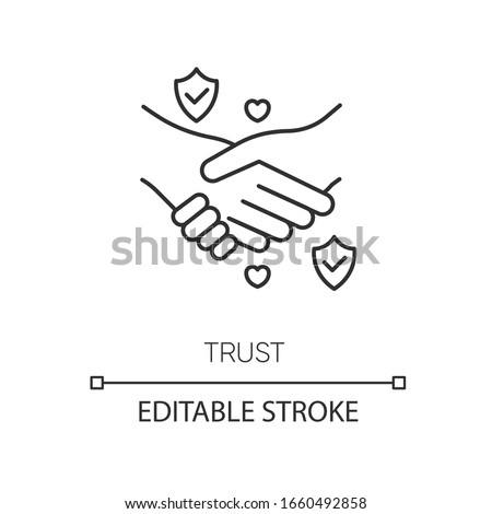 Trust pixel perfect linear icon. Thin line customizable illustration. Strong friendship, reliable partnership contour symbol. Trustworthy relationship. Vector isolated outline drawing. Editable stroke