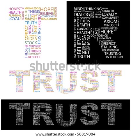 TRUST. Word collage. Illustration with different association terms.