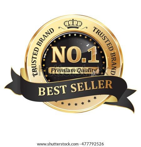 Trusted brand, best seller, premium quality - shiny golden black icon / ribbon for retail companies
