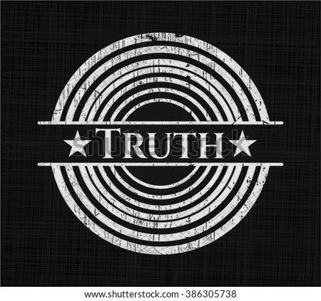 Truth chalk emblem written on a blackboard