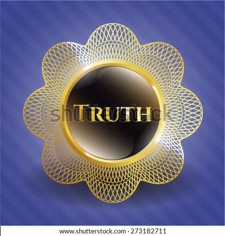 Truth golden emblem with blue background