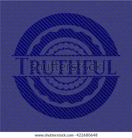 Truthful badge with denim texture