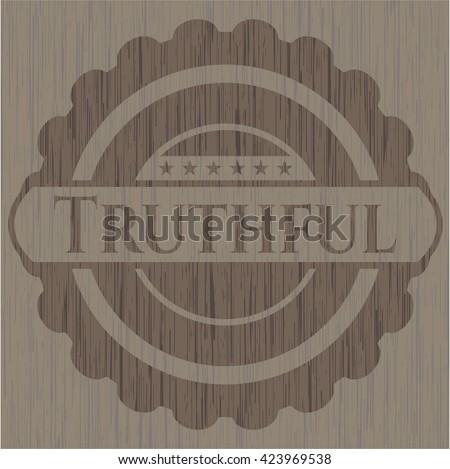 Truthful retro wooden emblem