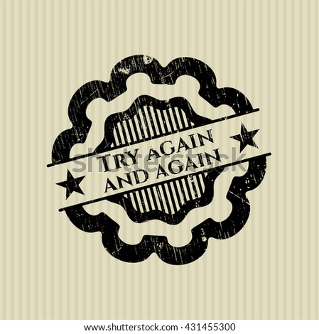 Try again and again grunge style stamp