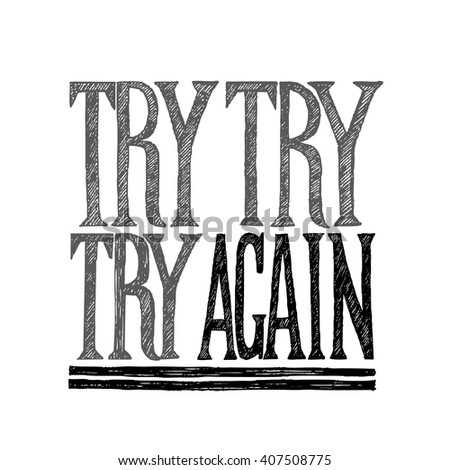 try again poster with hand