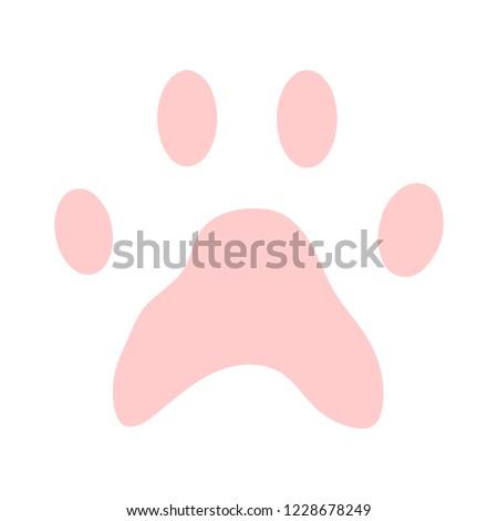ts icon, vector paw print - animal illustration, pet symbol