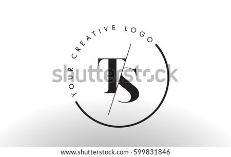 TS Letter Logo Design with Creative Intersected and Cutted Serif Font. Stock fotó ©