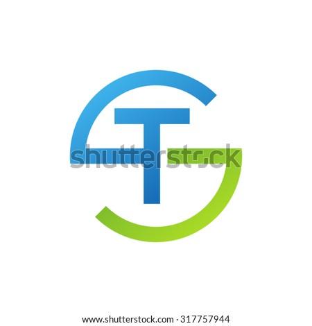 TS ST initial company circle S logo blue green
