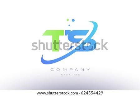 ts t s alphabet green blue swoosh letter company logo vector icon design template Stock fotó ©