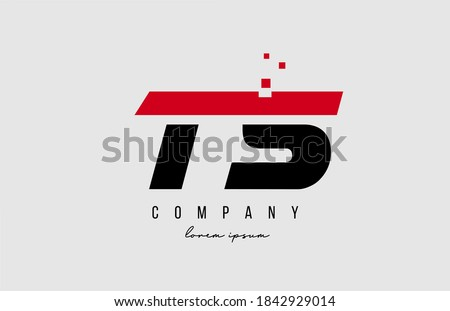 ts t s alphabet letter logo combination in red and black color. Creative icon design for business and company  Stock fotó ©