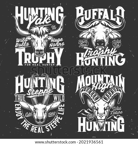 Tshirt print with mountain goat, buffalo, yak and gazelle heads. Vector wild animal mascots for hunting club, hunter trophy black and white labels for apparel design, isolated emblems for hunt society Stok fotoğraf ©