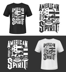 Tshirt print with skull and USA flag, apparel design vector mockup. T shirt template with typography American Spirit. Monochrome print, isolated mascot emblem or label on black and white background