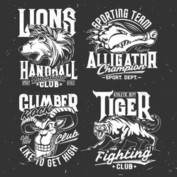 Tshirt prints with mountain goat, alligator, lion and tiger vector mascots. Heads of grin and roar wild animals for fighting and sport club symbols. Apparel rock climber and handball team design set