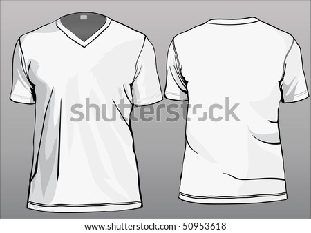 TShirt template with v-neck and half sleeves