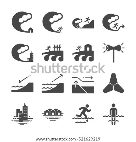 Tsunami and Flood icons. Included the icons as wave, evacuate, emergency, alarm, sea, escape and more.  ストックフォト ©
