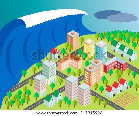 tsunami covering city and make