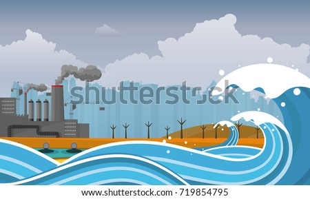 tsunami  flood disaster  vector