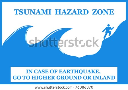 Tsunami hazard zone sign. Vector