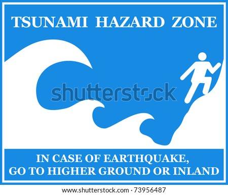 Tsunami Information Sign - isolated on white. VECTOR