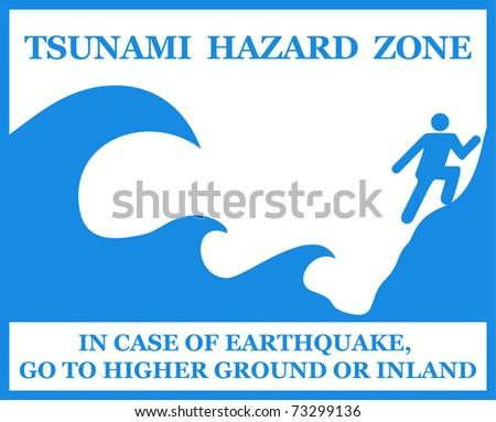 Tsunami Information Sign. Vector