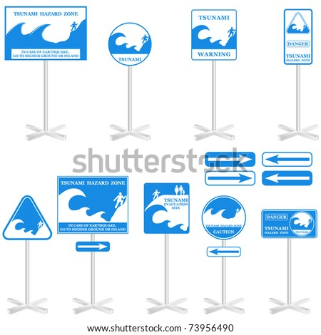 TSUNAMI Vector Pole sign Set: -  isolated on white. Gives you information about the possible danger. Ready to print