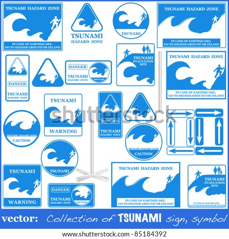 TSUNAMI warning sign set isolated on white. Gives you information about the possible wave destruction. Tsunami sign collection ready to print VECTOR