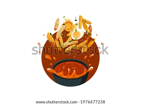 Tteok Bokki recipe. South Korean street food. Fried garae-tteok or rice cakes with sauce and eggs. Food jump up from a bowl that looks authentic and yummy. Asian food drawing vector illustration. Zdjęcia stock ©