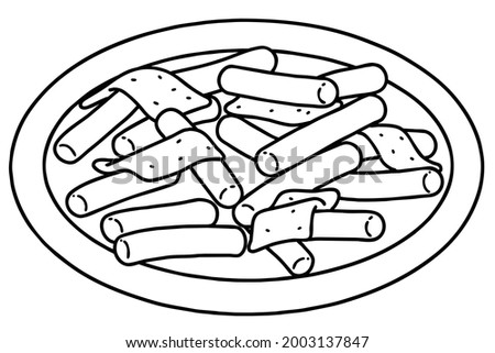 Tteokbokki. This is a popular Korean food made from small-sized garae-tteok (long, white, cylinder-shaped rice cakes). Vector line art illustration. Zdjęcia stock ©