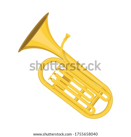 Tuba flat style isolated on white. musical object concept vector for your design work, presentation, website or others. Сток-фото ©