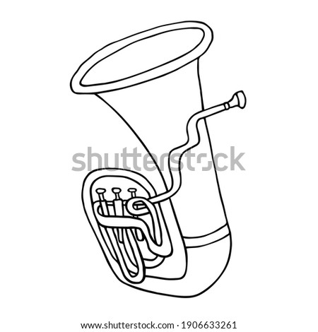Tuba vector sketch. Hand drawn black and white tuba with mouthpiece clip art illustration Сток-фото ©