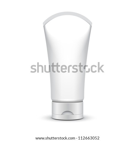 Tube Of Cream Or Gel Grayscale Silver White Clean On White Background Isolated: Vector EPS10