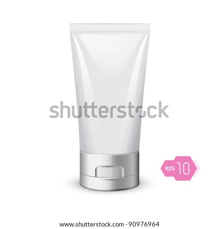 Tube Of Cream Or Gel Grayscale Silver White Clean: Vector Version