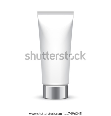 Tube Of Cream Or Gel Grayscale Silver White Clean With Chrome Lid. Ready For Your Design. Product Packing Vector EPS10