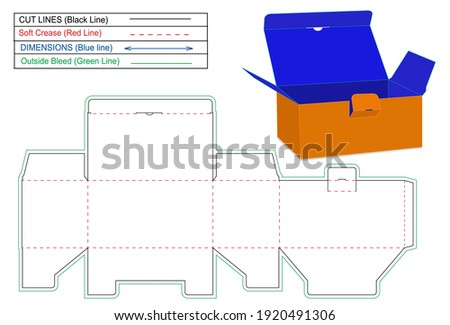 Tuck Top Snap Lock Bottom or auto bottom lock box dieline template and 3D render box, Tuck Top Snap Lock Bottom or auto bottom lock box dieline template and 3D render box