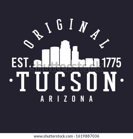 Tucson Arizona Skyline Original. Logotype Sports College University. Illustration Design Vector.